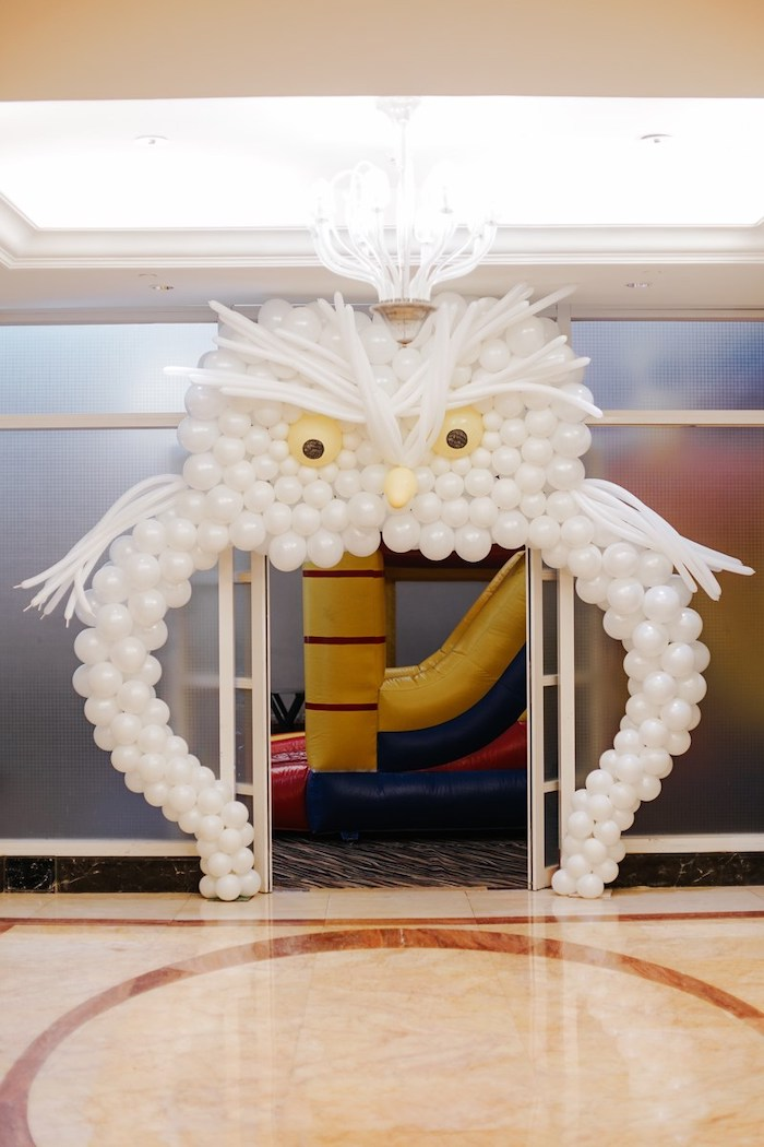 Owl Balloon Arch from a Fantastic Beasts Birthday Party on Kara's Party Ideas | KarasPartyIdeas.com (8)