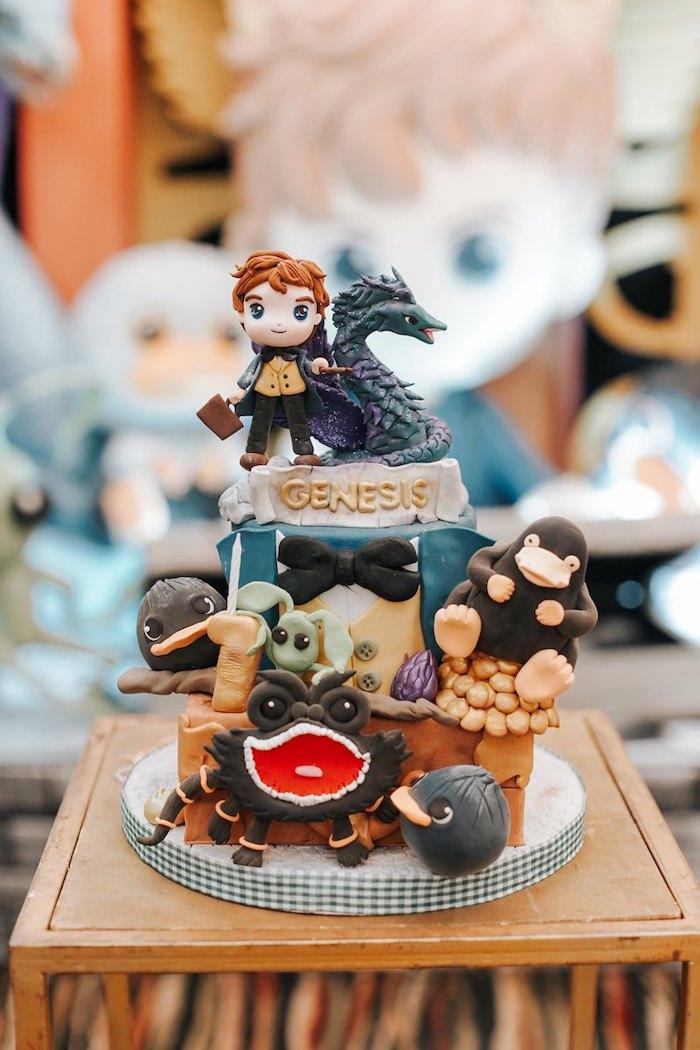 Fantastic Beasts Cake from a Fantastic Beasts Birthday Party on Kara's Party Ideas | KarasPartyIdeas.com (25)