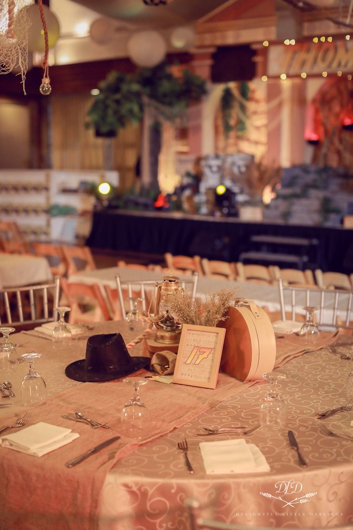 Indiana Jones Themed Guest Table from an Indiana Jones Birthday Party on Kara's Party Ideas | KarasPartyIdeas.com (29)