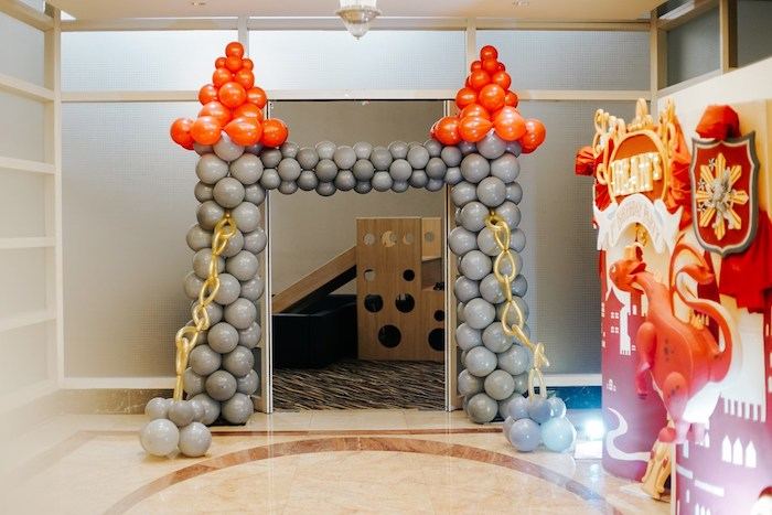 Balloon Drawbridge Entrance from a Knights and Dragons Birthday Party on Kara's Party Ideas | KarasPartyIdeas.com (5)