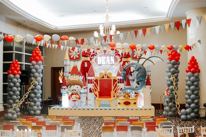Balloon Tower Castle Stage from a Knights and Dragons Birthday Party on Kara's Party Ideas | KarasPartyIdeas.com (13)