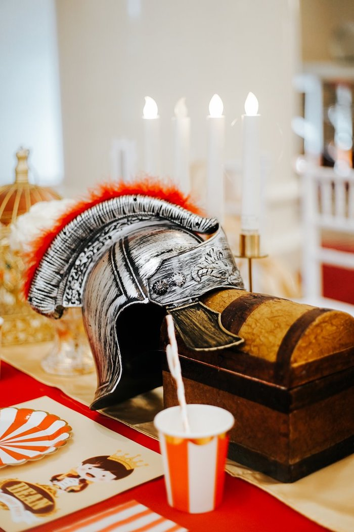 Knight Helmet and Chest Centerpiece from a Knights and Dragons Birthday Party on Kara's Party Ideas | KarasPartyIdeas.com (11)