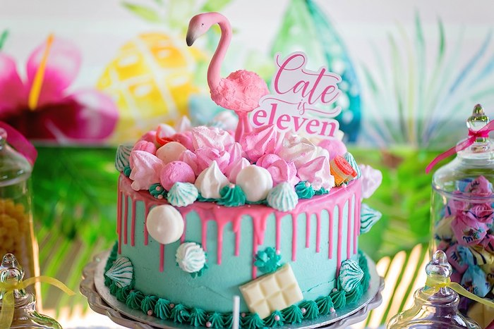Flamingo Cake from a Let's Flamingle Birthday Party on Kara's Party Ideas | KarasPartyIdeas.com (32)