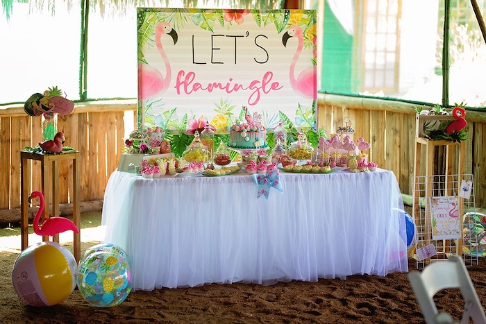 Flamingo Themed Dessert Table from a Let's Flamingle Birthday Party on Kara's Party Ideas | KarasPartyIdeas.com (31)