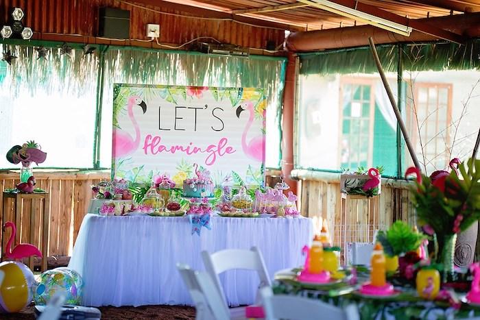 Flamingo Themed Dessert Table from a Let's Flamingle Birthday Party on Kara's Party Ideas | KarasPartyIdeas.com (30)
