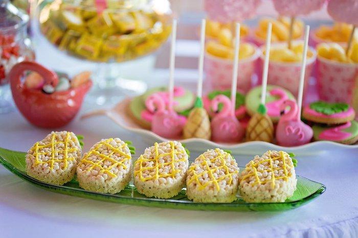 Pineapple Rice Krispie Treats from a Let's Flamingle Birthday Party on Kara's Party Ideas | KarasPartyIdeas.com (28)