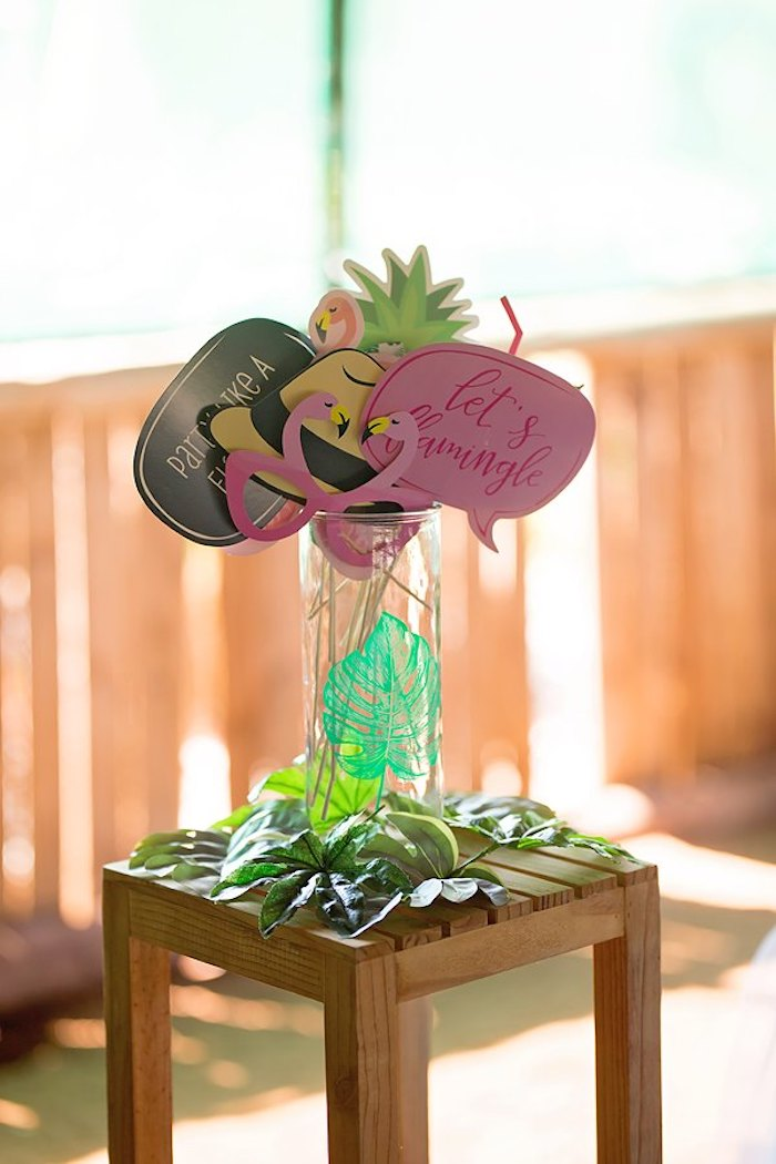 Photo Booth Prop Table from a Let's Flamingle Birthday Party on Kara's Party Ideas | KarasPartyIdeas.com (26)