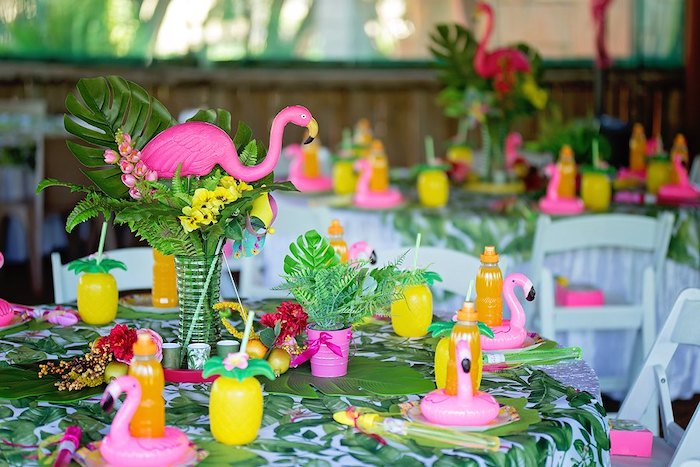 Tropical Flamingo Guest Table from a Let's Flamingle Birthday Party on Kara's Party Ideas | KarasPartyIdeas.com (25)