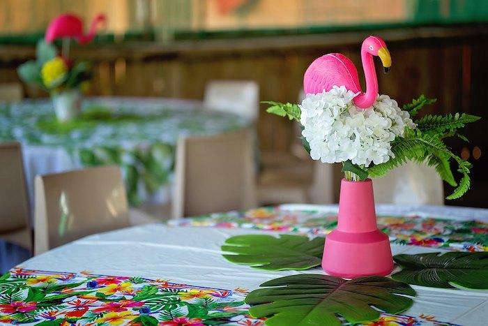 Flamingo Table Centerpiece from a Let's Flamingle Birthday Party on Kara's Party Ideas | KarasPartyIdeas.com (24)