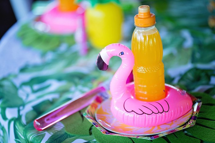 Inflatable Flamingo Drink Holder from a Let's Flamingle Birthday Party on Kara's Party Ideas | KarasPartyIdeas.com (41)