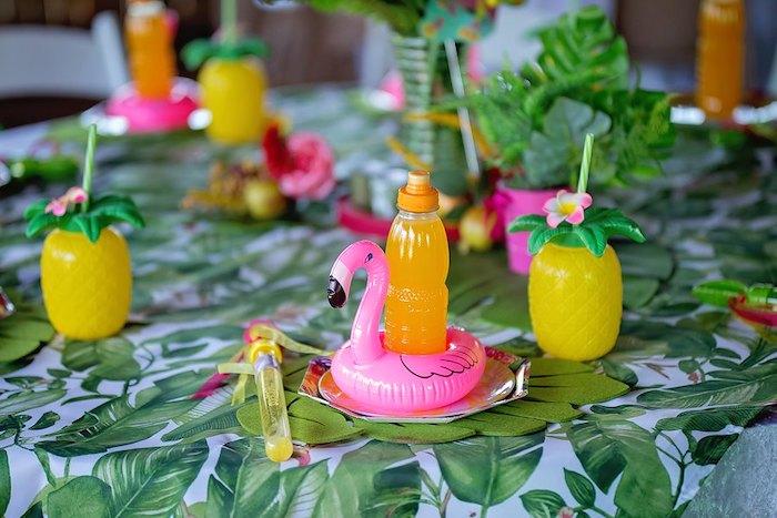 Tropical Flamingo Table Centerpiece from a Let's Flamingle Birthday Party on Kara's Party Ideas | KarasPartyIdeas.com (22)