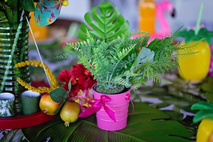 Tropical Plant Centerpiece from a Let's Flamingle Birthday Party on Kara's Party Ideas | KarasPartyIdeas.com (20)