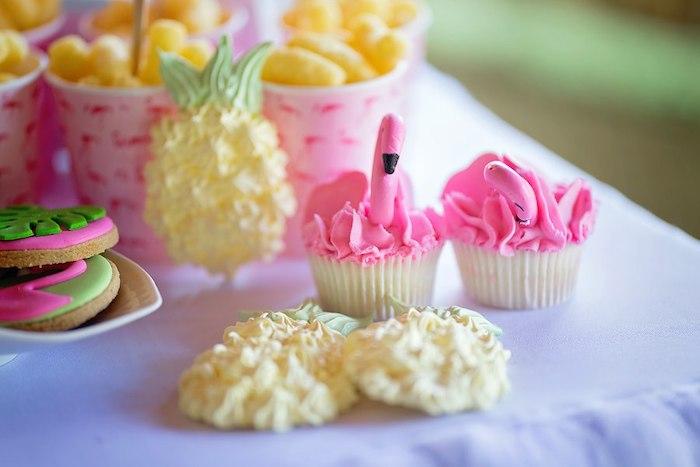 Flamingo Cupcakes & Pineapple Meringues from a Let's Flamingle Birthday Party on Kara's Party Ideas | KarasPartyIdeas.com (19)