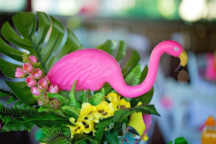 Floral Flamingo Centerpiece from a Let's Flamingle Birthday Party on Kara's Party Ideas | KarasPartyIdeas.com (18)