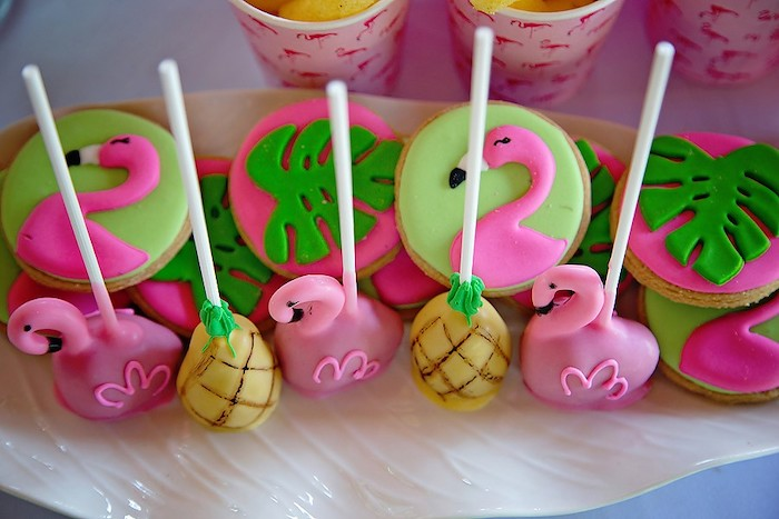Tropical Flamingo Cake Pops + Cookies from a Let's Flamingle Birthday Party on Kara's Party Ideas | KarasPartyIdeas.com (15)