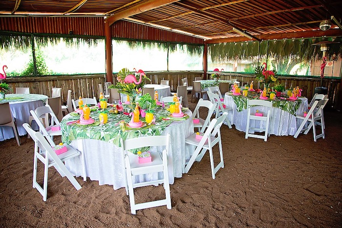 Tropical Flamingo-inspired Guest Tables from a Let's Flamingle Birthday Party on Kara's Party Ideas | KarasPartyIdeas.com (40)