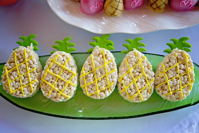 Pineapple Rice Krispie Treats from a Let's Flamingle Birthday Party on Kara's Party Ideas | KarasPartyIdeas.com (12)