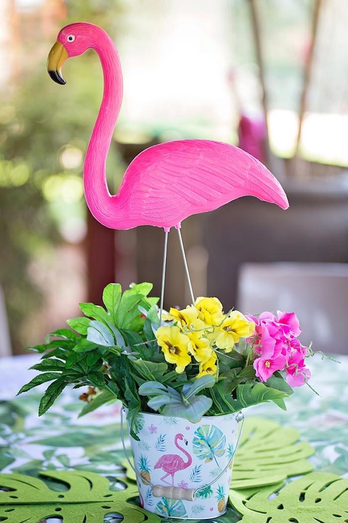 Floral Flamingo Table Centerpiece from a Let's Flamingle Birthday Party on Kara's Party Ideas | KarasPartyIdeas.com (10)