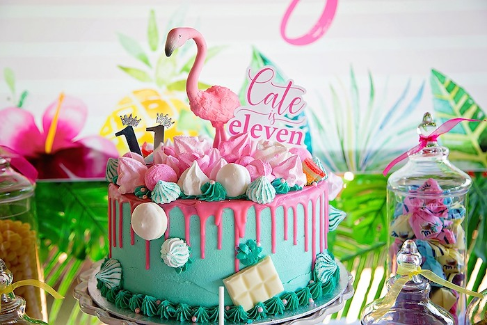 Flamingo Cake from a Let's Flamingle Birthday Party on Kara's Party Ideas | KarasPartyIdeas.com (8)