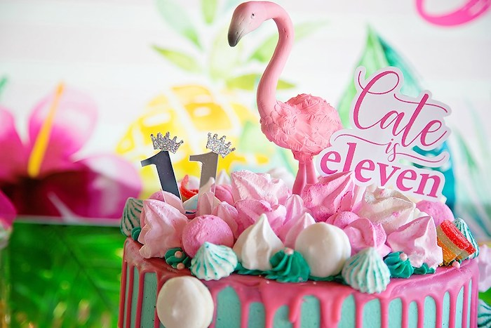 Flamingo-inspired Meringue Cookie Cake Top from a Let's Flamingle Birthday Party on Kara's Party Ideas | KarasPartyIdeas.com (7)