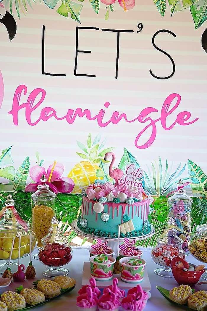 Flamingo Cake Table from a Let's Flamingle Birthday Party on Kara's Party Ideas | KarasPartyIdeas.com (6)