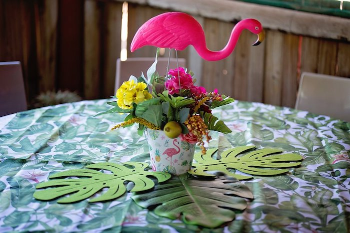 Tropical Flamingo Guest Table from a Let's Flamingle Birthday Party on Kara's Party Ideas | KarasPartyIdeas.com (37)