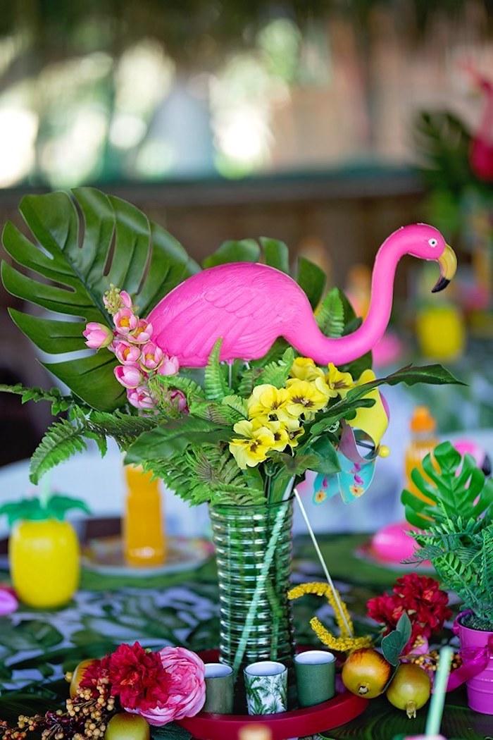 Floral Flamingo Centerpiece from a Let's Flamingle Birthday Party on Kara's Party Ideas | KarasPartyIdeas.com (35)