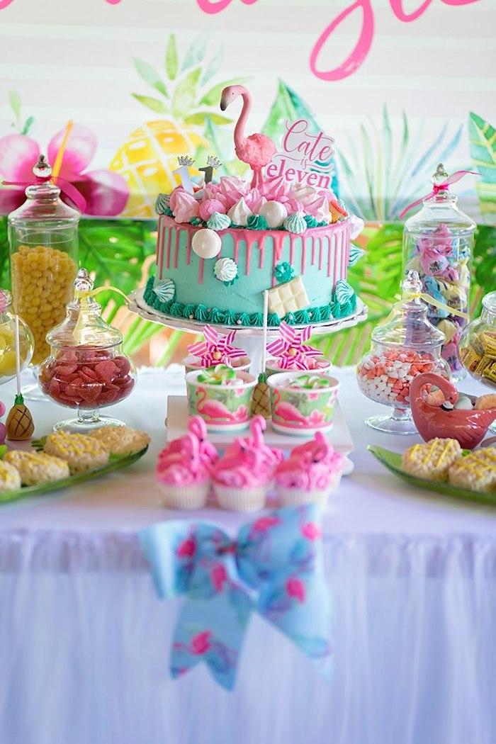 Flamingo Cake Table from a Let's Flamingle Birthday Party on Kara's Party Ideas | KarasPartyIdeas.com (34)