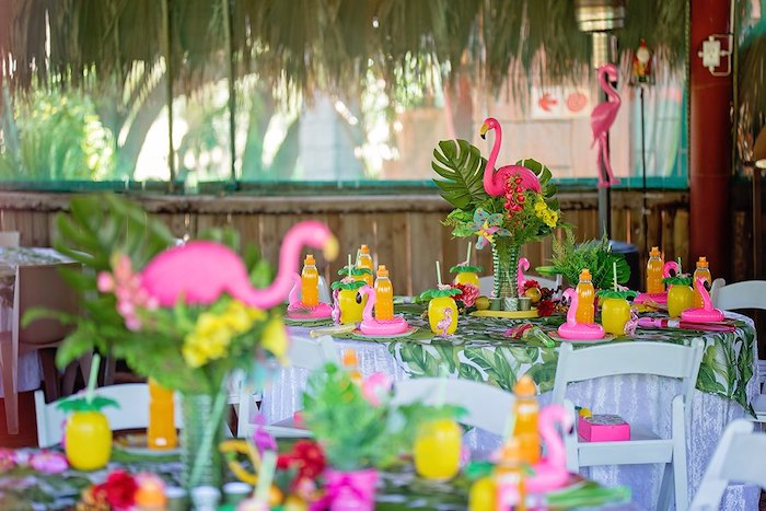Flamingo Themed Guest Tables from a Let's Flamingle Birthday Party on Kara's Party Ideas | KarasPartyIdeas.com (33)