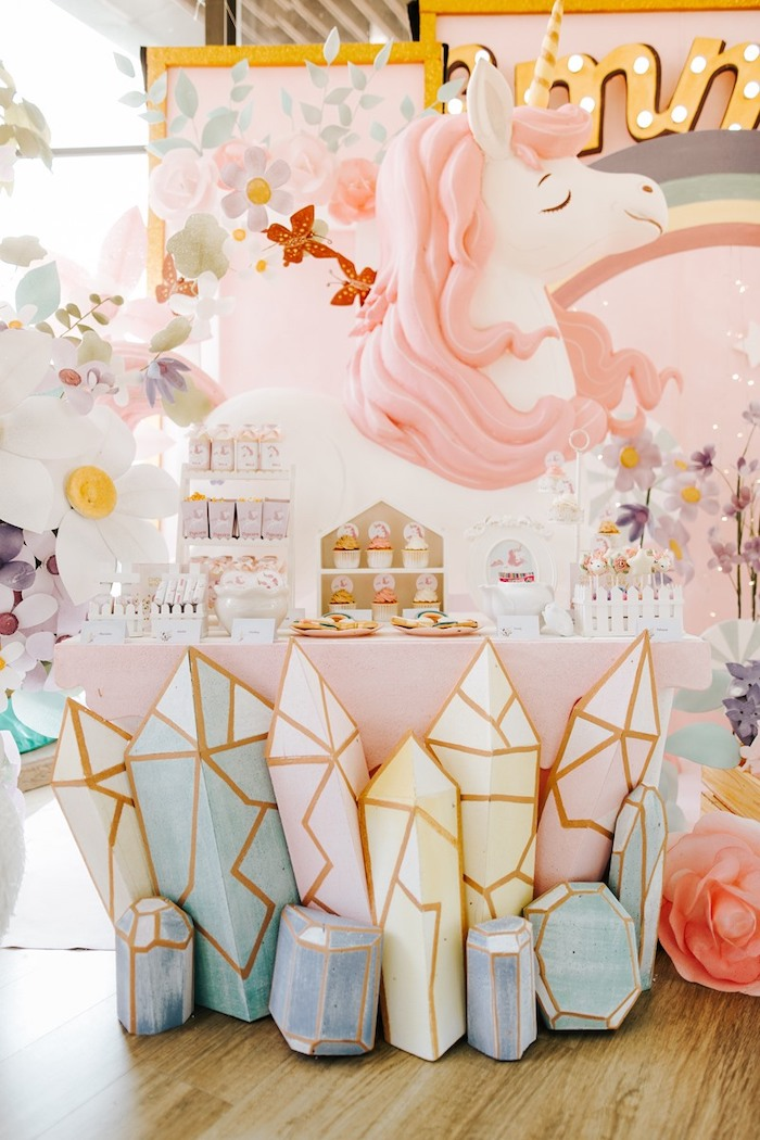 Unicorn Themed Dessert Table from a Magical Unicorn Birthday Party on Kara's Party Ideas | KarasPartyIdeas.com (19)