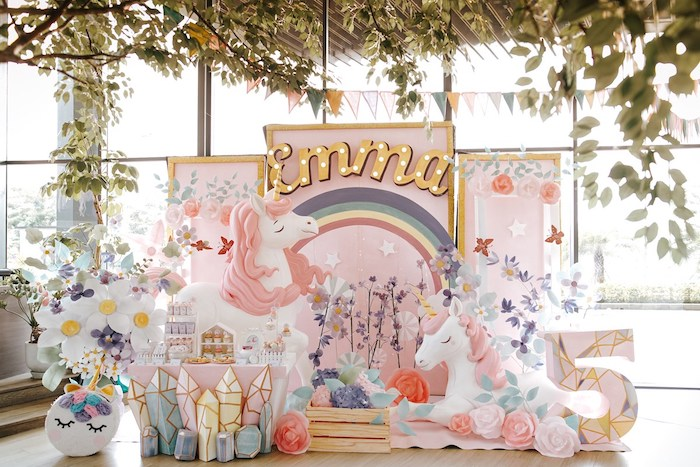 Custom Unicorn Backdrop from a Magical Unicorn Birthday Party on Kara's Party Ideas | KarasPartyIdeas.com (16)