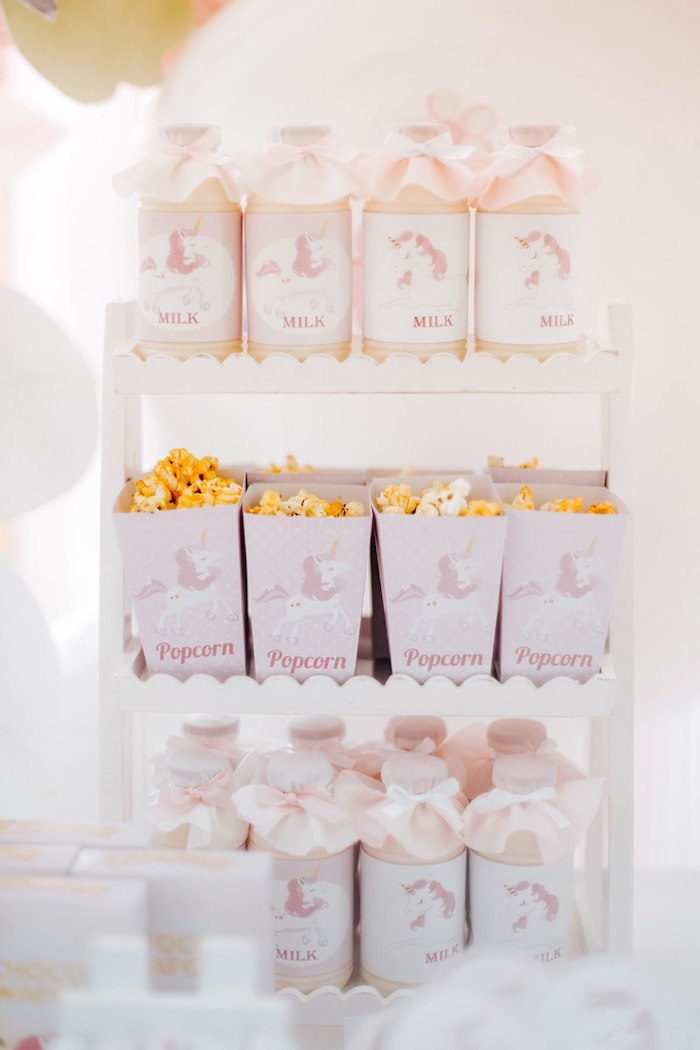 Unicorn Milk & Popcorn from a Magical Unicorn Birthday Party on Kara's Party Ideas | KarasPartyIdeas.com (13)