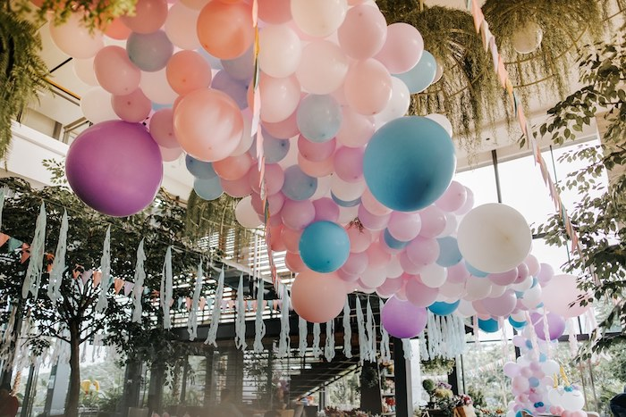 Pastel Ceiling Install from a Magical Unicorn Birthday Party on Kara's Party Ideas | KarasPartyIdeas.com (12)