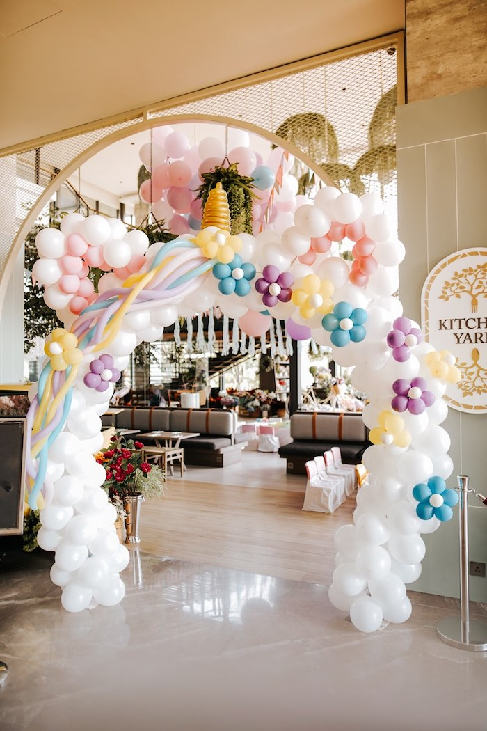 Unicorn Balloon Arch from a Magical Unicorn Birthday Party on Kara's Party Ideas | KarasPartyIdeas.com (10)
