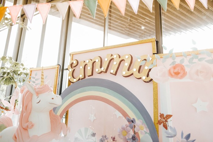 Custom Rainbow Unicorn Backdrop from a Magical Unicorn Birthday Party on Kara's Party Ideas | KarasPartyIdeas.com (9)