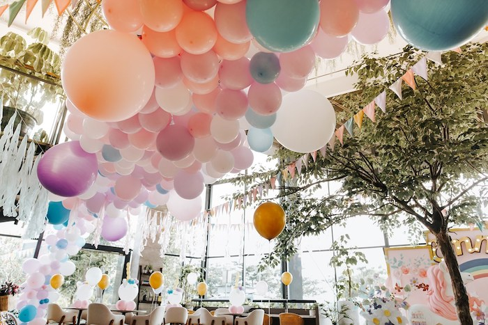 Pastel Ceiling Install from a Magical Unicorn Birthday Party on Kara's Party Ideas | KarasPartyIdeas.com (8)