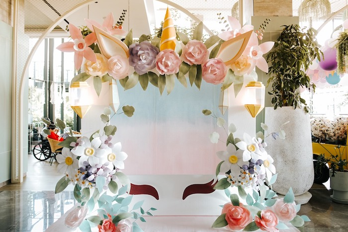 Floral Unicorn Arch from a Magical Unicorn Birthday Party on Kara's Party Ideas | KarasPartyIdeas.com (7)