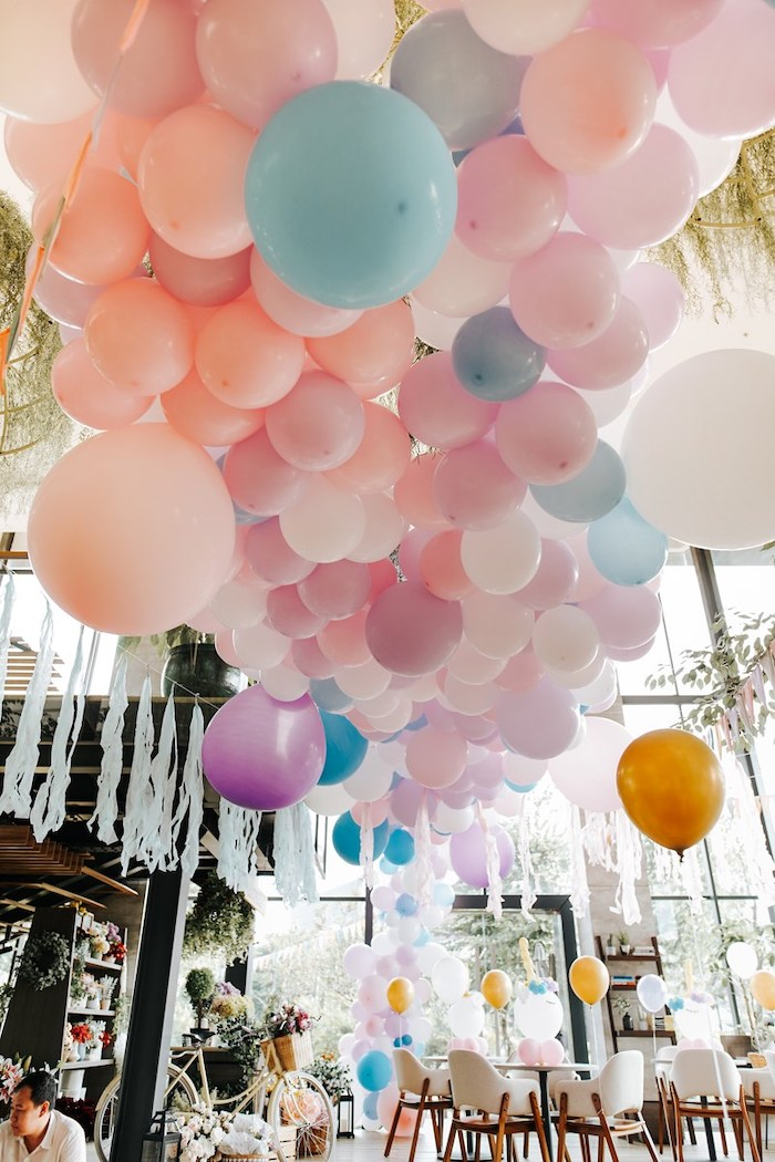 Pastel Ceiling Install from a Magical Unicorn Birthday Party on Kara's Party Ideas | KarasPartyIdeas.com (27)
