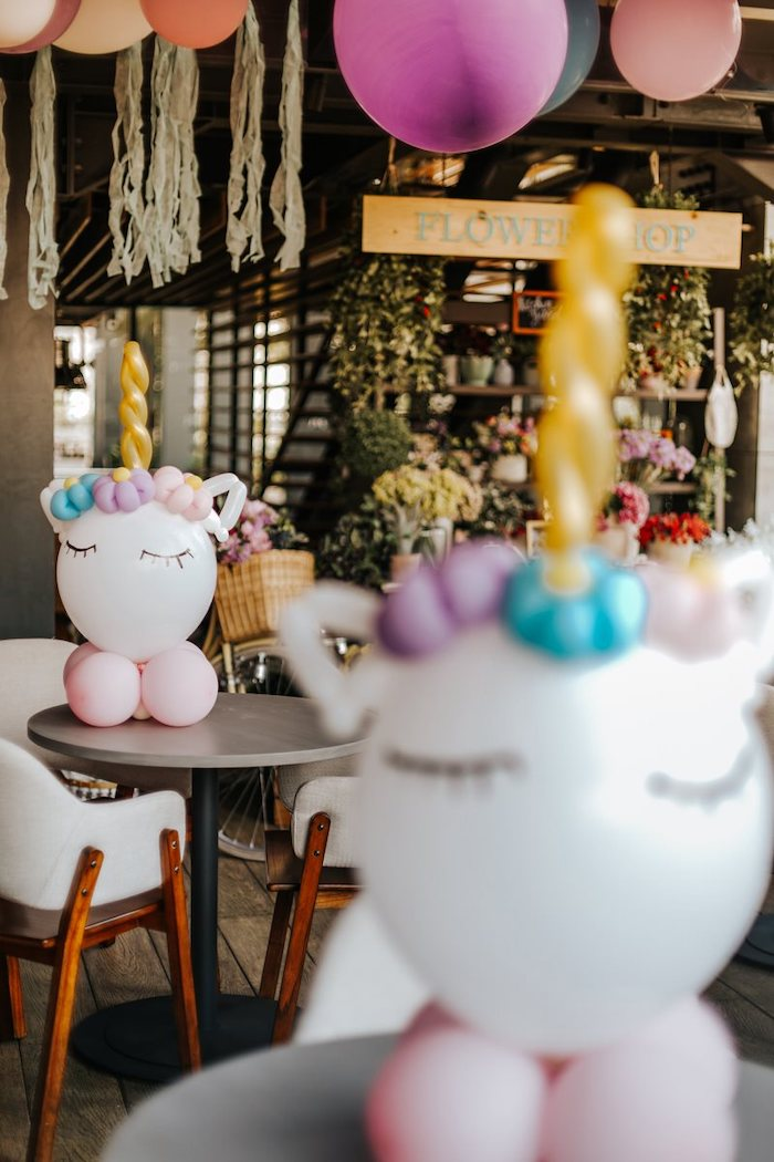 Unicorn Balloon Centerpiece from a Magical Unicorn Birthday Party on Kara's Party Ideas | KarasPartyIdeas.com (23)