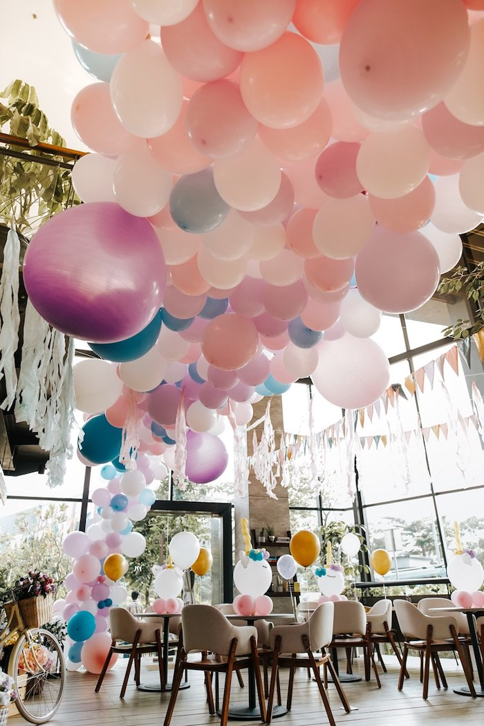 Ceiling Install from a Magical Unicorn Birthday Party on Kara's Party Ideas | KarasPartyIdeas.com (21)