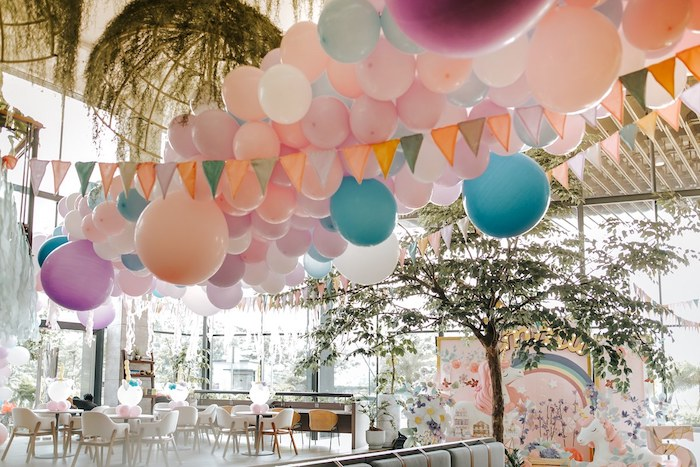 Pastel Ceiling Install from a Magical Unicorn Birthday Party on Kara's Party Ideas | KarasPartyIdeas.com (20)