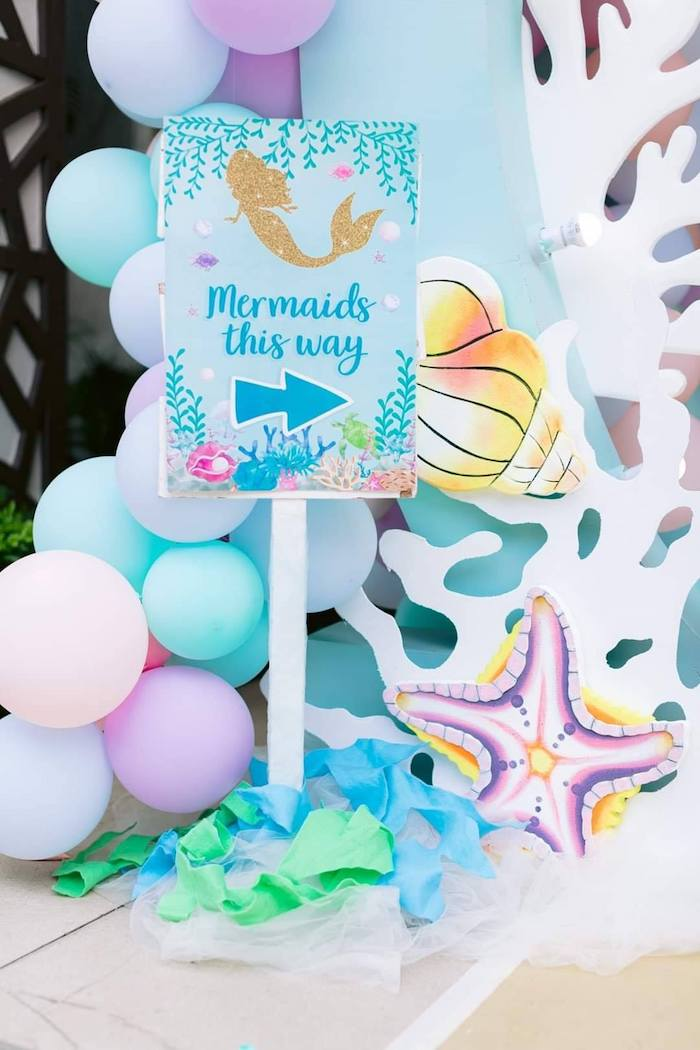 Mermaids this Way Sign from a Majestic Mermaid Under the Sea Party on Kara's Party Ideas | KarasPartyIdeas.com (22)