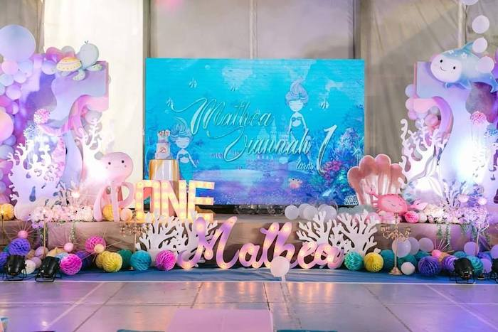 Majestic Mermaid Stage from a Majestic Mermaid Under the Sea Party on Kara's Party Ideas | KarasPartyIdeas.com (13)