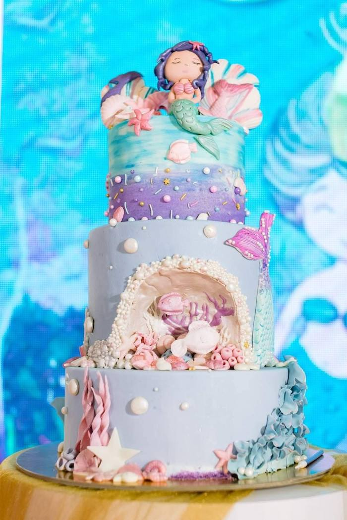 Mermaid Themed Cake from a Majestic Mermaid Under the Sea Party on Kara's Party Ideas | KarasPartyIdeas.com (31)