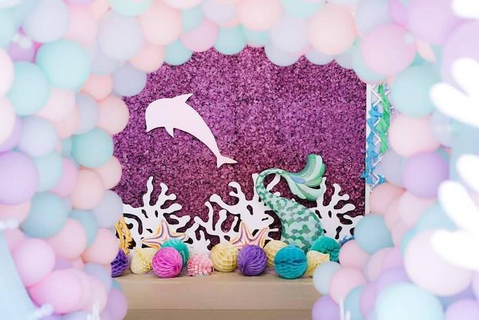 Under the Sea Themed Dolphin Backdrop from a Majestic Mermaid Under the Sea Party on Kara's Party Ideas | KarasPartyIdeas.com (12)