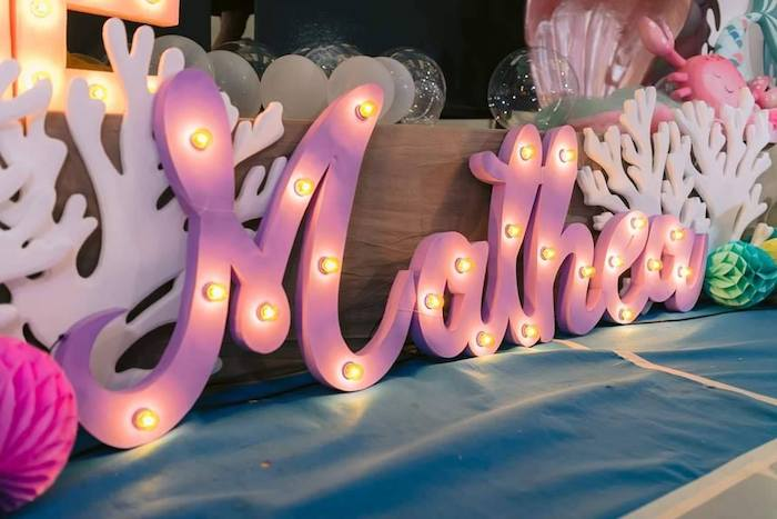Marquee Light Name Sign from a Majestic Mermaid Under the Sea Party on Kara's Party Ideas | KarasPartyIdeas.com (11)