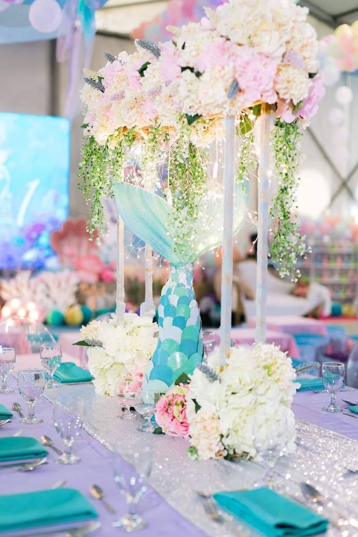 Majestic Mermaid Floral Table Centerpiece from a Majestic Mermaid Under the Sea Party on Kara's Party Ideas | KarasPartyIdeas.com (29)