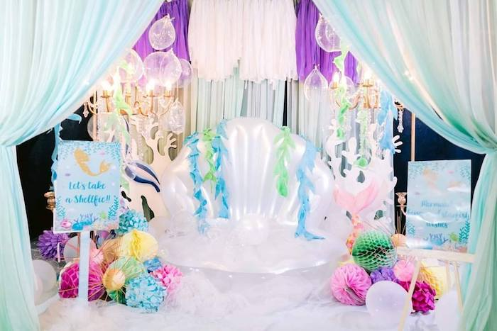 Shellfie Station from a Majestic Mermaid Under the Sea Party on Kara's Party Ideas | KarasPartyIdeas.com (25)