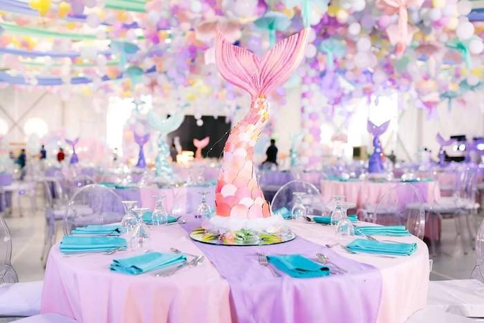 Mermaid Fin Guest Table from a Majestic Mermaid Under the Sea Party on Kara's Party Ideas | KarasPartyIdeas.com (23)