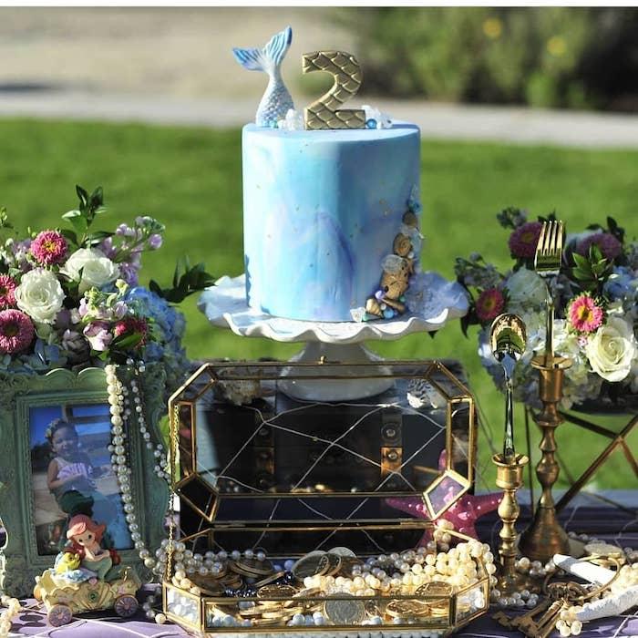 Mermaid-inspired Cake from a Mermaid Birthday Party on Kara's Party Ideas | KarasPartyIdeas.com (14)